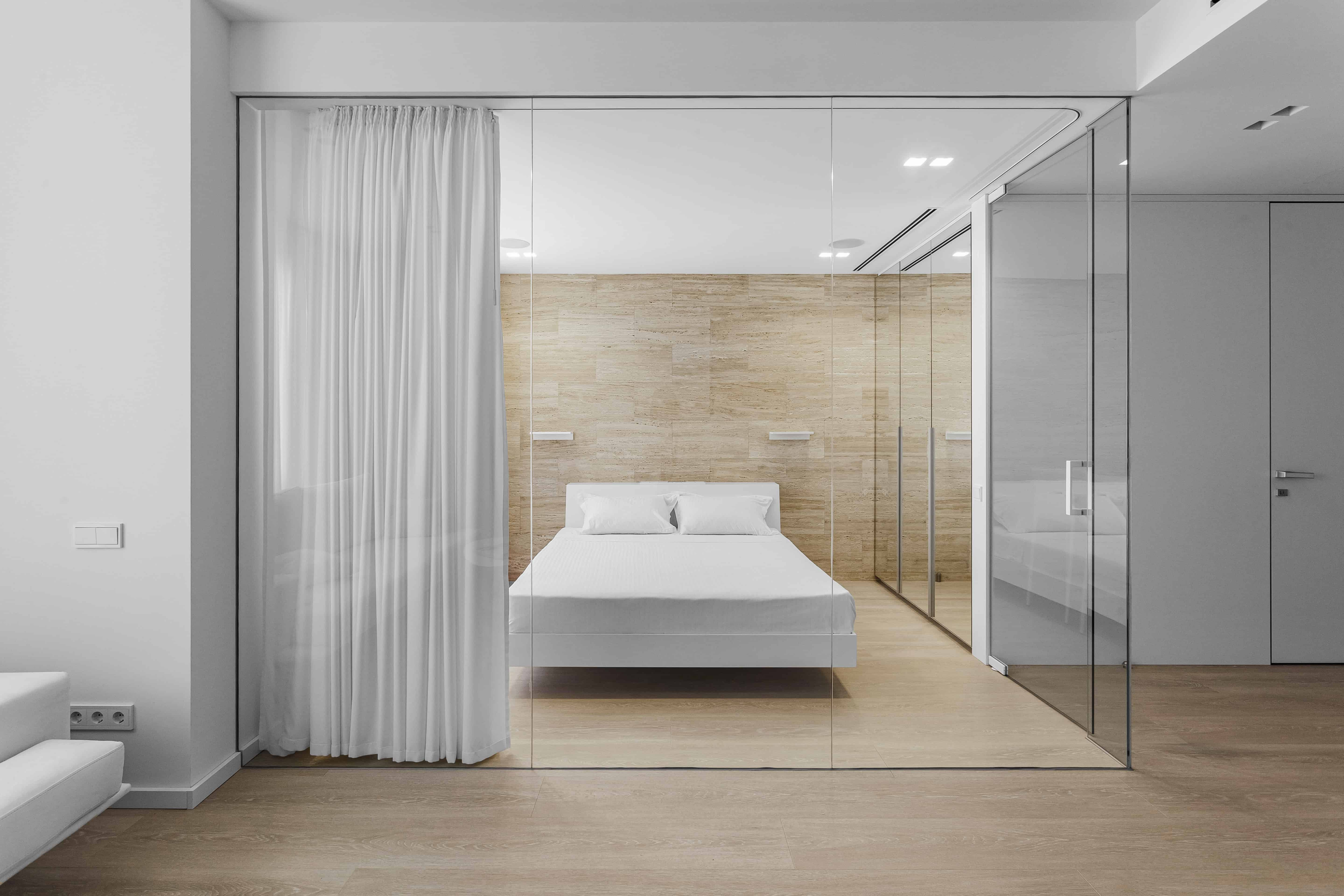 white and travertine stone bedroom interior design