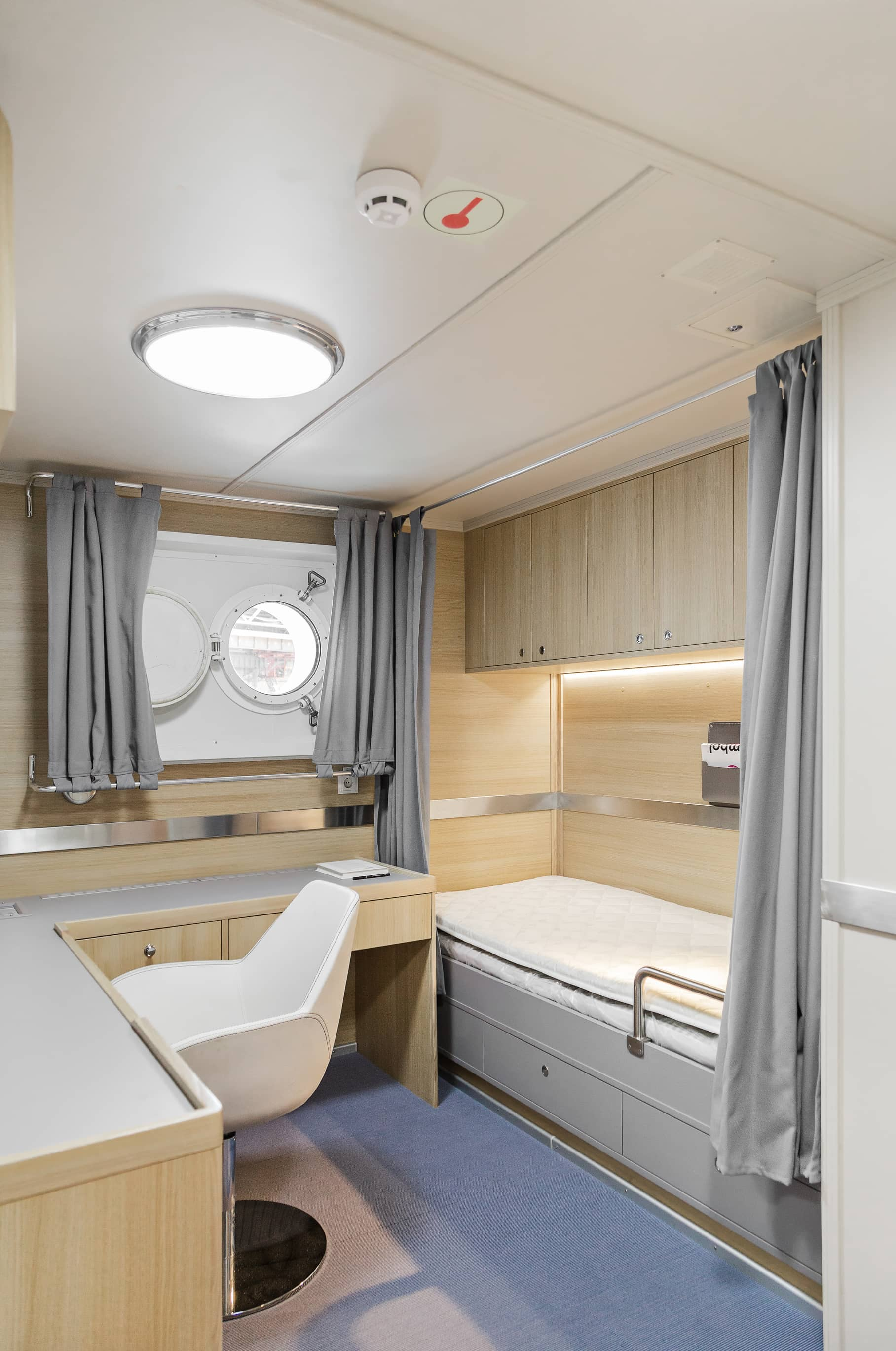 captain cabin interior wooden walls