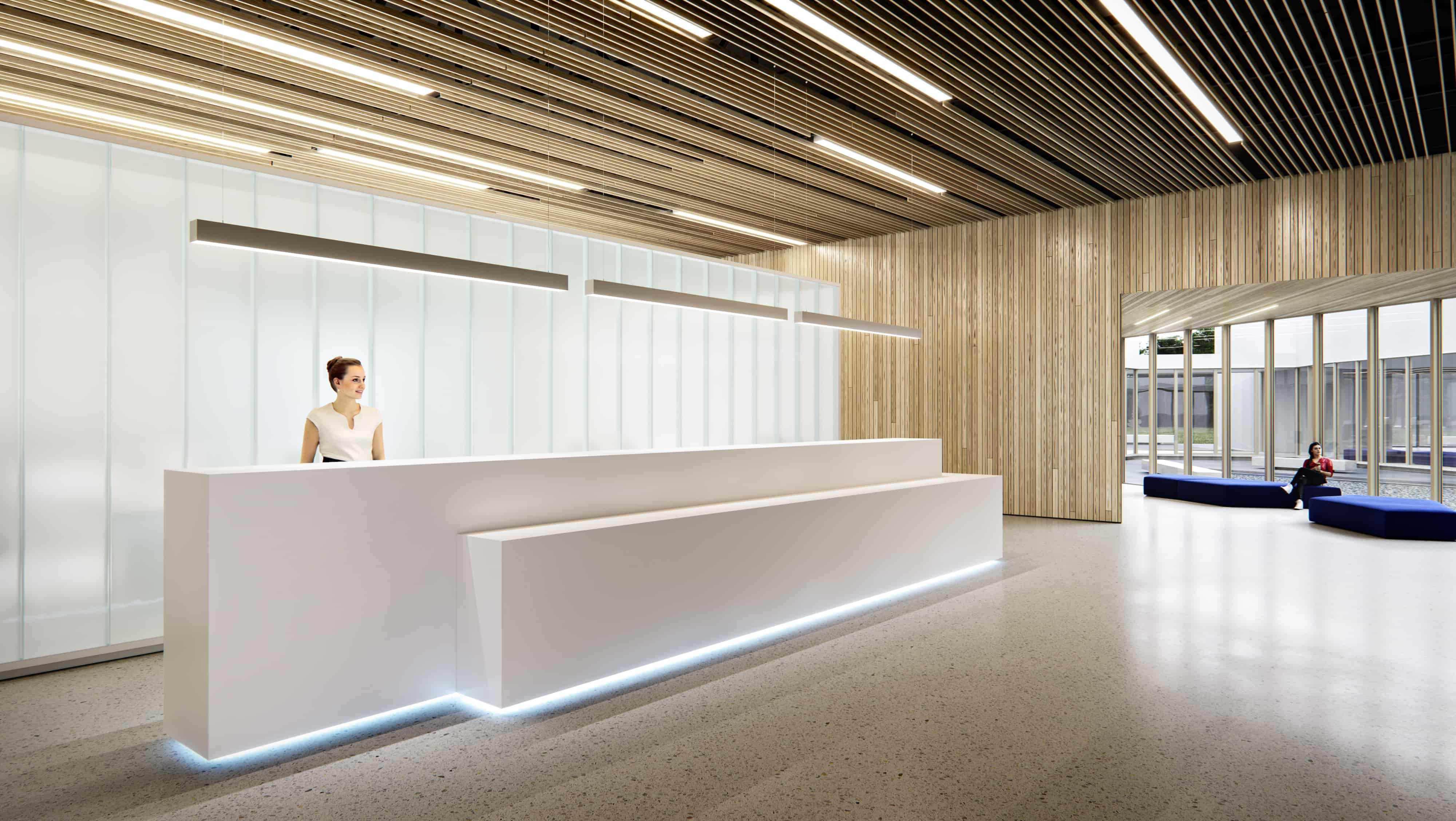 IT office building reception hall interior design perspective